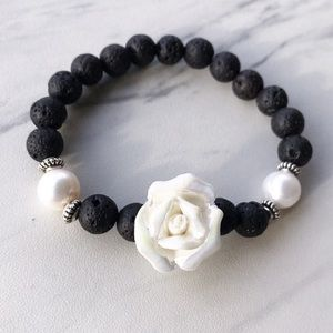 Fresh water pearl & lava rock white rose bracelet